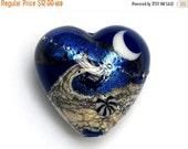 ON SALE 50% OFF Cobalt Celestial  Heart Focal Bead - Handmade Glass Lampwork Bead -11832705
