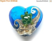 ON SALE 50% OFF Turtle Cove Heart Focal Bead -11834705-Handmade Glass Lampwork Bead