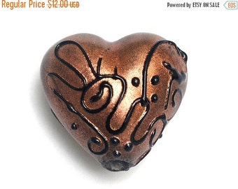 ON SALE 30% OFF Copper Pearl w/Black Swirl Heart -11813605-Handmade Glass Lampwork Bead
