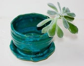 Stoneware Succulent Planter In Deep Turquoise Glaze Four Inch Pot Indoor gardening