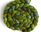 Organic Polwarth Roving - Handpainted Spinning or Felting Fiber, Tree Greens