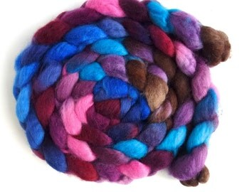 BFL Wool Roving - Hand Painted Spinning or Felting Fiber, Lost in Time