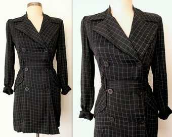 80s Dress / Little Black Checkered Dress / 80s Mini Dress / Secretary Dress XS