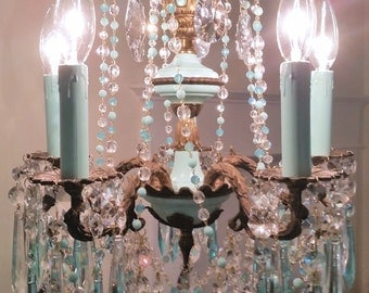 Reserved for Jacoba Vintage Tiffany Blue French Chandelier