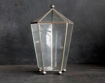 Ten Inch High Vintage Metal and Glass Display Box, Terrarium, Air Plant Holder, Polygon Geometric, Silver Lead Planter Minimal Modern