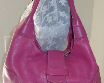 Ann Taylor  unique tote satchel dual strap shoulder bag shocking pink thick buttery leather vintage  early 90s pristine condition