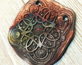 182. Wondrousstrange Design Raku Primitive Celtic Earthenware  Pendant
