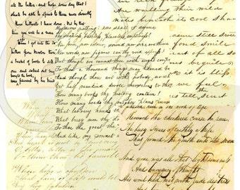 Antique Script Digital Printable Crafting Package Download Poetry Background Clip Art Handwritten