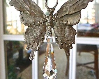 """Pewter Butterfly Car Charm, Window Prism with Swarovski Crystals, Suncatcher for Home or Car, Rainbow, Chakra Colored Strand - """"PAPILLON"""""""