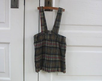 Vintage Toddler Girl Christmas Dress Jumper Skirt Red Green Pleated Plaid 12 18 Month
