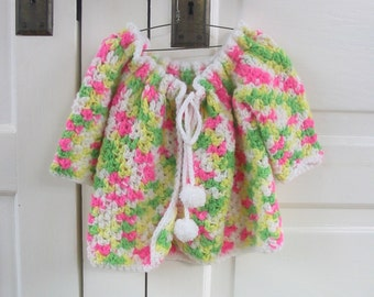 Vintage Pink Green Baby Girl Infant Sweater Cardigan Knit 2T 3T