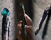 Ammonite, Tourmaline, Citrine, Moonstone Wand ~ forest wood Oregon faerie magic altar shaman nature