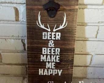 Beer Opener Sign Deer & Beer make me Happy