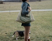 Slouchy Burlap Hobo Bag from Recycled Coffee Bean Sack OOAK by The Bent Tree Gallery