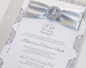 25th Wedding Anniversary Invitation, Embellished Wedding Invitation, Elegant Invitation - Damask Wedding Invite - White Silver - Sample