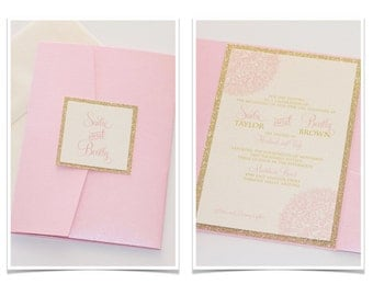 Sadie Pink and Gold Glitter Wedding Invitation, Pocketfold Invitation, Elegant Wedding Invitation, Vintage Wedding Stationery - Sample