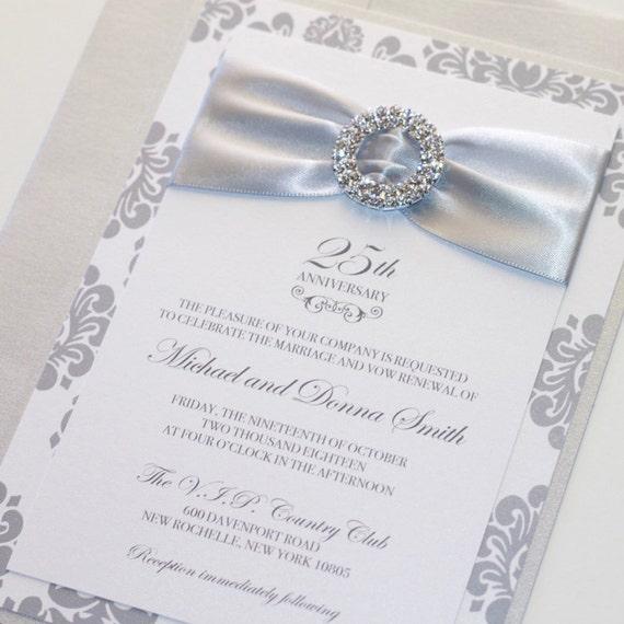 25th wedding anniversary invitation embellished wedding