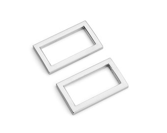 "50pcs - 1"" (25mm) Flat Zinc Square Ring - Nickel - (FSR-108) - Free Shipping"