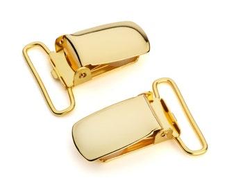 "50pcs - 1"" Suspender Clip - Gold - Free Shipping (SUSPENDER CLIP SPN-113)"