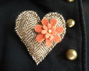Harris Tweed Heart Brooch in Brown & Cream