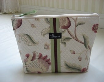Large Cosmetic Bag, Quilted Cosmetic Bag, Purple and Green Floral