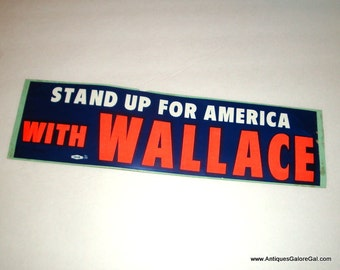Vintage Bumper Sticker, George Wallace, Stand Up For American, 1968, Presidental Candidate, Campaign, Orange, Blue, Unused, No. 1  (866-15)