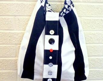 boho chic handbag, gypsy bag, hobo bag, cross body bag, shoulder bag, knitting bag, tote bag, tablet tote, summer bag, black and white bag