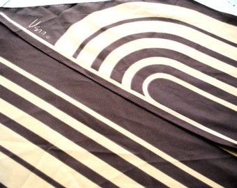 Mod vintage 60s polyester long skinny scarf with a brown and beige stripe. Made by Vera.