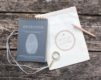 Detective Kit - letterpress notebook + magnifying glass