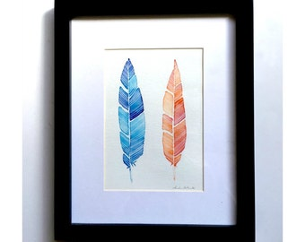 Framed Feather Watercolor Original Art, Two Feathers Watercolor Paintings, Original Feather Art, Blue Violet Red Feathers Original Art