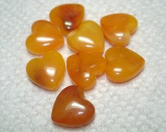 Burnt Orange Yellow Acrylic Heart Beads (Qty 8) - B3020