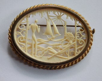 French Depose - Victorian Pin - French Ivory - 3D Carved Celluloid Scene - AS IS