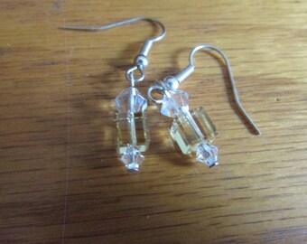 clear glass yellow dangle earrings