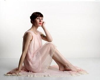 ON SALE 1960s Lingerie Set . Pink Boudoir Attire . Two Piece