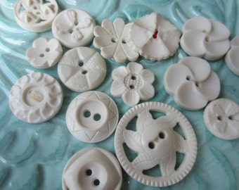 Vintage Buttons - Cottage chic mix of fancy white, and off white lot of 16 old and sweet(sept 401)