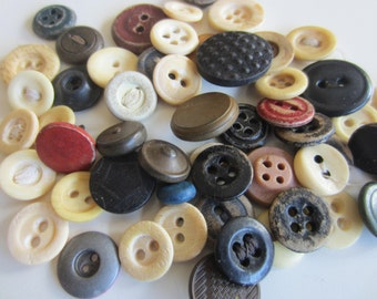 Vintage Buttons - Cottage chic primitive mix of fall, dark colors celluloid and painted metal, old and sweet- lot of 54 (jan primitve 54)