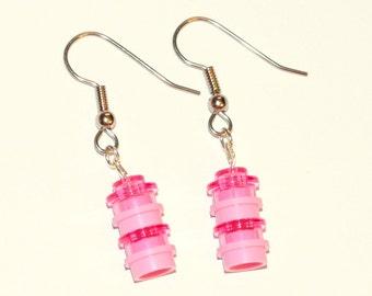 Pink LEGO® Brick Dangle Earrings