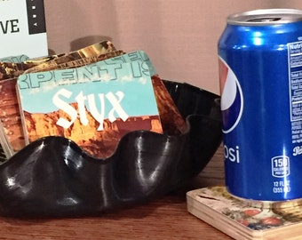 Styx recycled The Serpent is Rising album sleeve coasters with vinyl record bowl