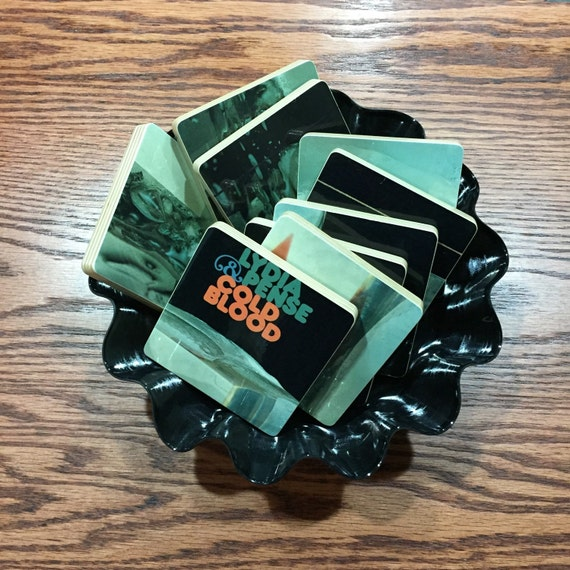 LYDIA PENSE recycled Cold Blood Album art coasters with record bowl