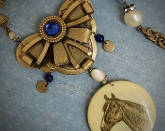 First Prize-Antique Vintage Horse Button Assemblage Necklace