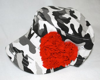 Distressed Black/White/Gray Camo Military Cadet Style Hat with Red Heart