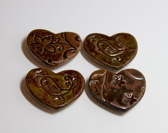 4 Heart Shaped Clay Magnets - 105