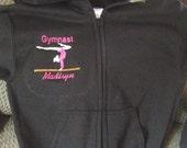 Personalized Girls Gymnastic Gymanst Dance Sweatshirt  Zip up front Hoodie Hoody Youth