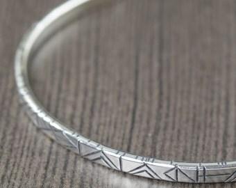 Unisex Sterling silver cuff bracelet bangle bracelet geometric bracelet