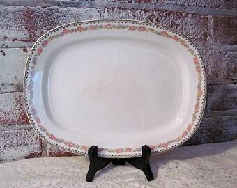Antique Ironstone Platter, Pink Roses Cottage Chic, Serving Platter, Serving Dish