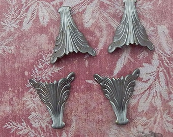 Vintage Metal Corner Pieces - Silver Tone or Pewter Art Nouveau Wings or Feathers - Jewelry, Leatherwork, Scrapbooking, Mixed Media (4 pc)