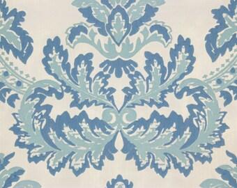 1970's Retro Flocked Vintage Wallpaper Large Blue Baroque on White