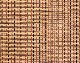 1970s vintage wallpaper grass cloth black orangered weave by the yard