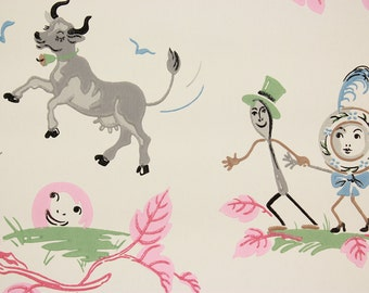 1940s Vintage Children's Wallpaper Nursery Rhyme Cow Jumped Over the Moon Cat and the Fiddle by the Yard