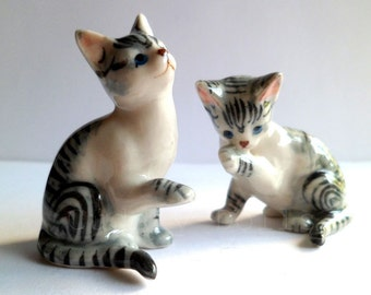 Couple Of Tabby Cat,Kitty,Kitten,Small Pets,Miniatures,Ceramic Animal,Figurine,Statue,Collectible,Cat Porcelain,Cat figruine,Cat Ceramic